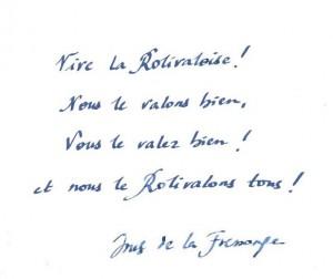 Rolivaloise 2013 - message d'Inès de la Fressange