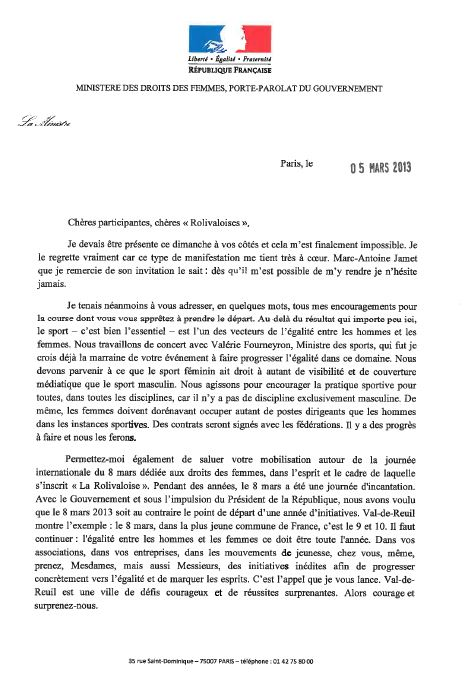 Lettre de Najat Vallaud Belkacem - Rolivaloise 2013