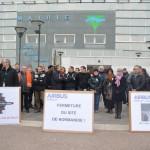 Manifestation des salariés de Cassidian/Airbus le 19 mars 2015 devant la mairie de Val-de-Reuil