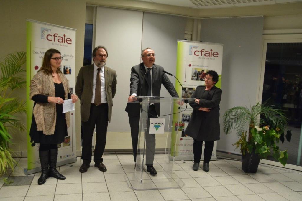 Magali Loubière, inspectrice de l'Education nationale, Jean-Marie Lejeune, directeur du CFAIE, Marc-Antoine Jamet, maire et Catherine Duvallet, 1ère adjointe en charge de l'éducation