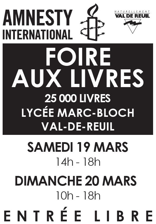 Foire aux livres d'Amnesty International samedi 19 et dimanche 20 mars