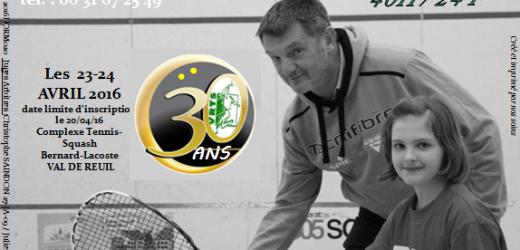 Squash : 22ème Open et 30 ans du VRTS ce week-end !