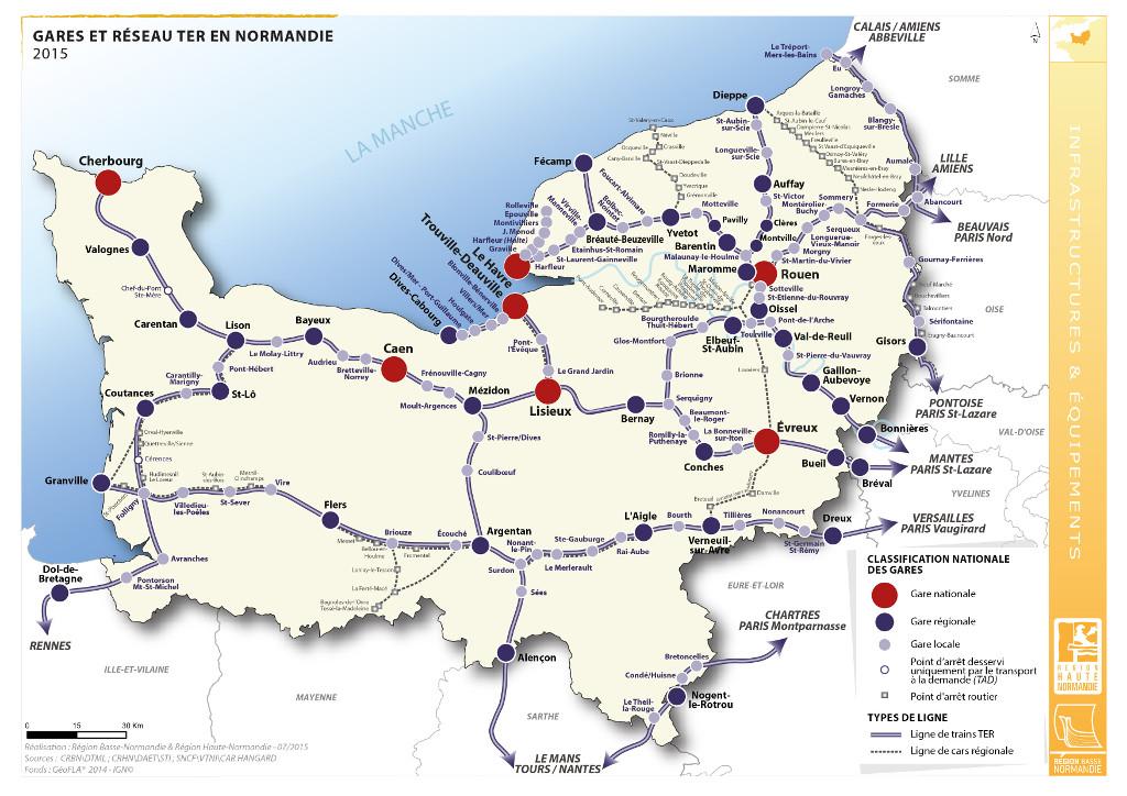 Gares et réseau des Trains express régionaux en Normandie
