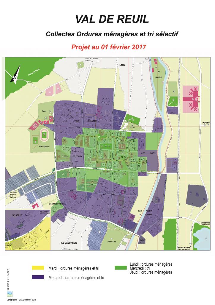 Plan de collecte des ordures ménagères et du tri sélectif à Val-de-Reuil