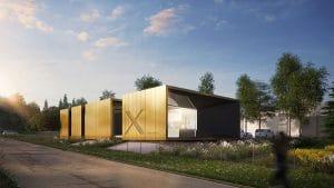 """Xcrusher, chez Sopréma, à Val-de-Reuil, sera un bâtiment à """"énergie positive"""" faisant appel à la géothermie, à des ruches, et des technologies de pointe respectueuses de l'environnement"""