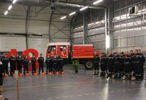 Pompiers professionnels, volontaires et jeunes sapeurs-pompiers réunis