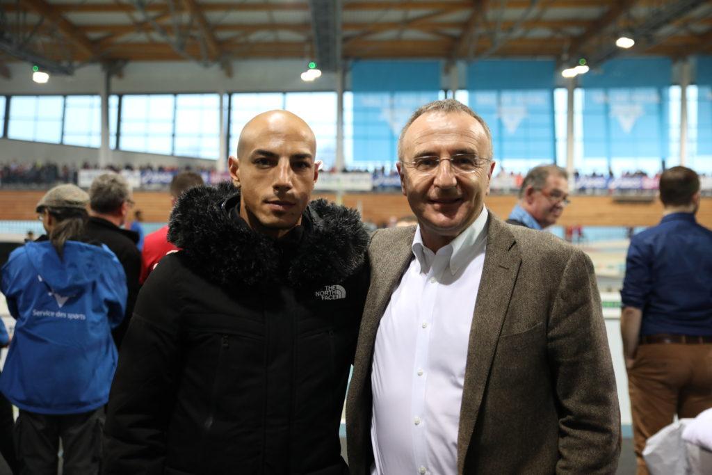 Oualid était au meeting d'athlétisme samedi avec Marc-Antoine Jamet
