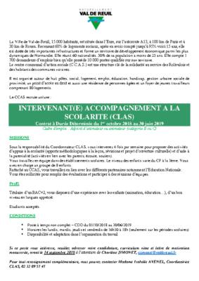 Recrutement d'un intervenant d'accompagnement à la solidarité (CLAS)