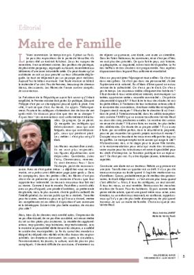 Maire de Famille – éditorial de Val de Reuil_infos n°10 – Décembre 2018 – Janvier 2019