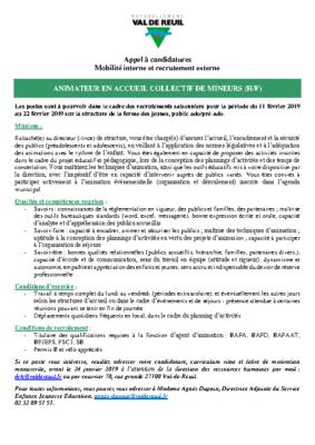 ANNONCE ANIMATEUR EN ACCUEIL COLLECTIF DE MINEURS (H/F) FERME DES JEUNES 2019