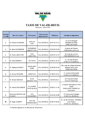 TAXIS – Janvier 2019