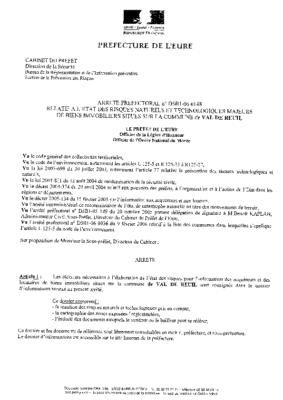 Note d'information aux acquéreurs arrêté préfectoral du 9 juillet 2006