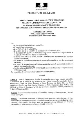 Note d'information aux acquéreurs arrêté préfectoral modifié du 31 janvier 2007