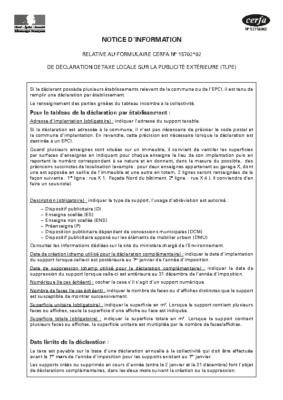 TAXE LOCALE SUR LA PUBLICITÉ EXTÉRIEURE (TLPE) – notice d'information Cerfa 15702 02