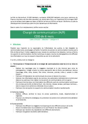 Chargé de communication (H/F) CDD de 6 mois