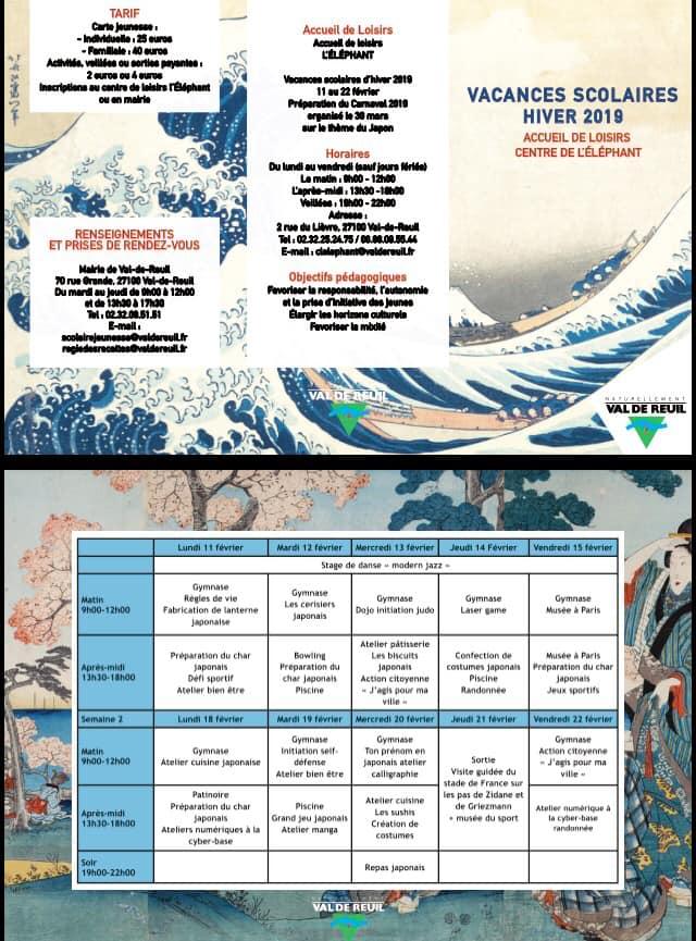 Programme des activités du Centre de l'éléphant - Vacances scolaires hiver 2019