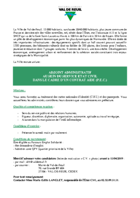 ADJOINT ADMINISTRATIF AU SEIN DU SERVICE ETAT CIVIL (H/F)