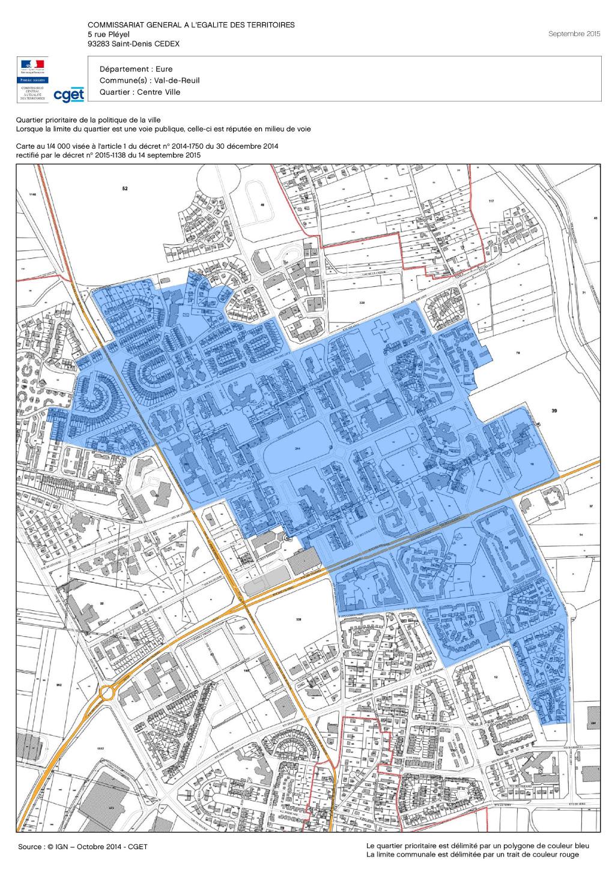 Quartier prioritaire de la politique de la ville - Val-de-Reuil - Le quartier prioritaire apparaît en bleu sur l'image
