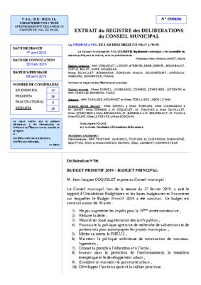 Délibération du Conseil municipal concernant le Budget Primitif 2019