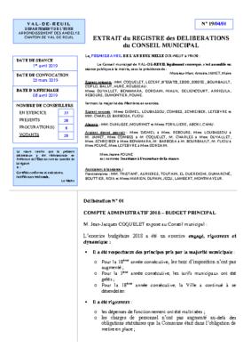 Délibération du Conseil municipal concernant le Compte Administratif 2018