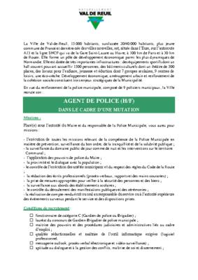 Annonce de recrutement d'un agent de police – jusqu'au 30 Avril 2019