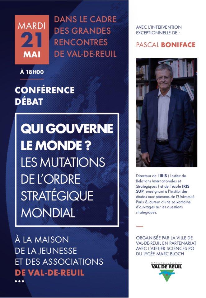 """Conférence-débat avec Pascal Boniface : """"qui gouverne le monde ?"""""""