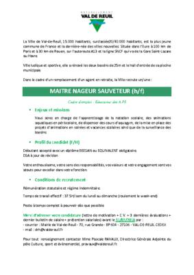 Recrutement d'un(e) Maître Nageur Sauveteur (h/f)