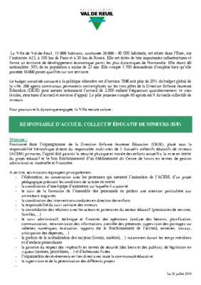 RESPONSABLE D'ACCUEIL COLLECTIF ÉDUCATIF DE MINEURS (H/F)