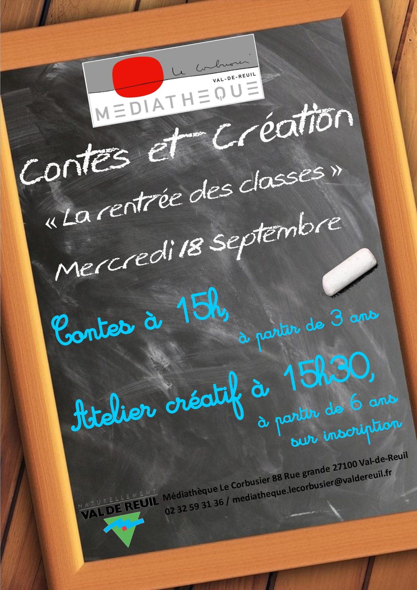 """Contes et atelier créatif """" La rentrée des classes """" à la médiathèque Le Corbusier"""