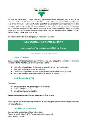 Gestionnaire Financier (H/F)
