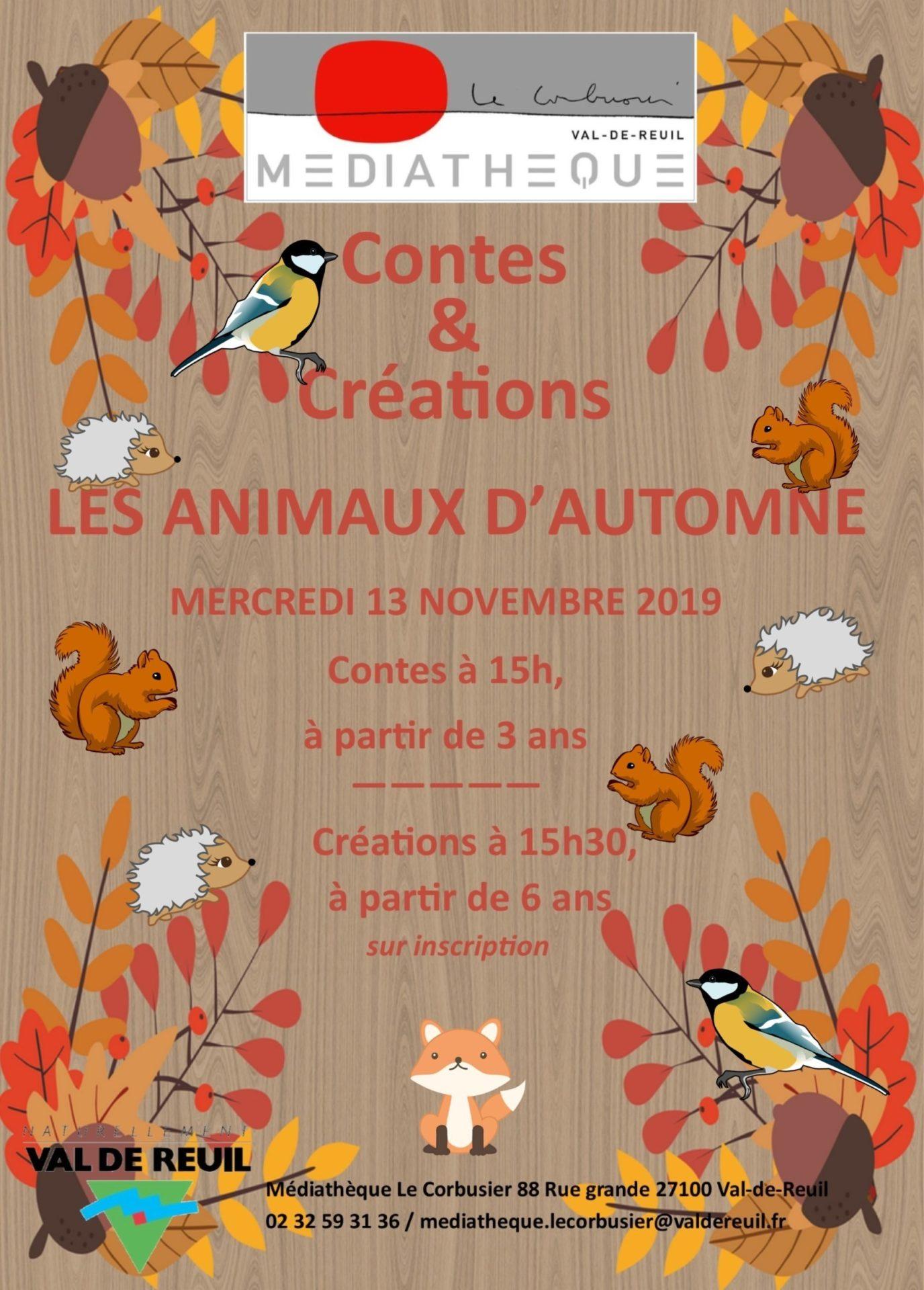 """Contes et atelier créatif """"Les animaux d'automne """" à la médiathèque Le Corbusier"""