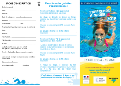J'apprends à nager 2019 – 2020