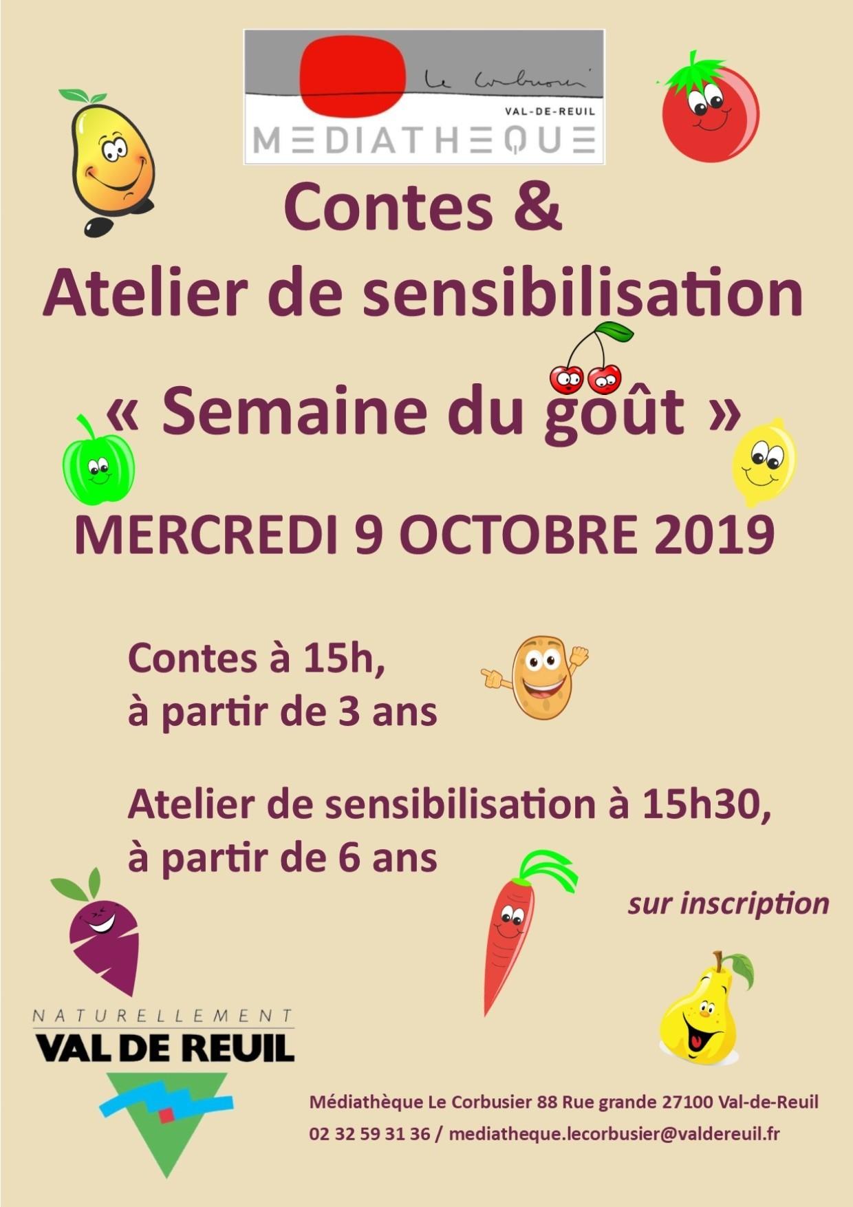 """Contes et atelier de sensibilisation """"Semaine du goût """" à la médiathèque Le Corbusier"""