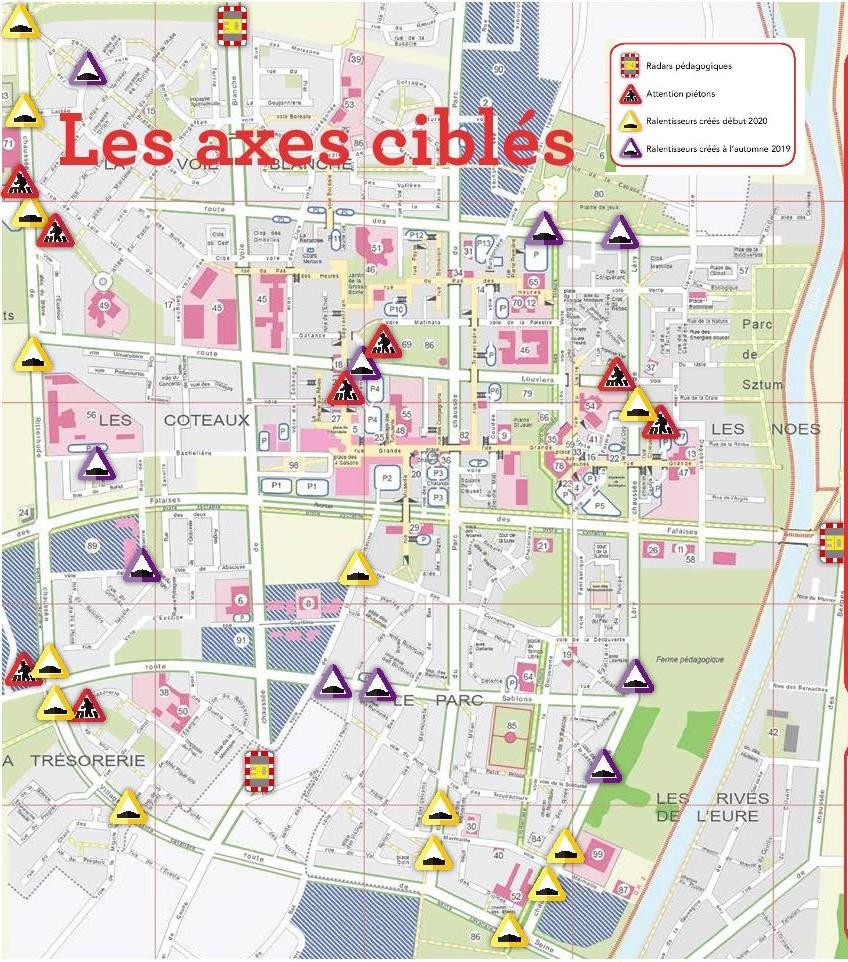 La carte des équipements de sécurité pour les piétons