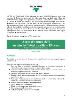 Agent d'accueil (H/F) – CDD 3 mois – 15h par semaine