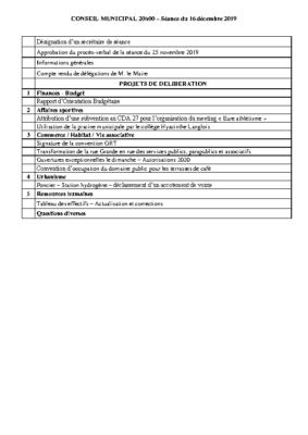 Ordre du jour du Conseil municipal du 16 Décembre 2019