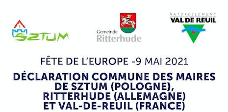 Fête de l'Europe : la déclaration commune des maires de Val-de-Reuil, Sztum et Ritterhude